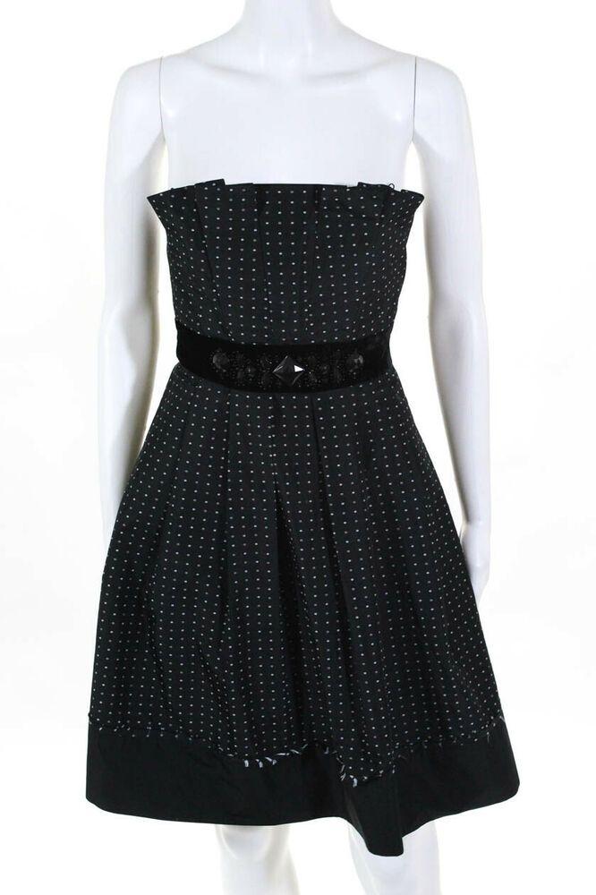 f0557908f43 BCBG Max Azria Womens Strapless Cocktail Dress Black White Empire Waist  Size 4  affilink