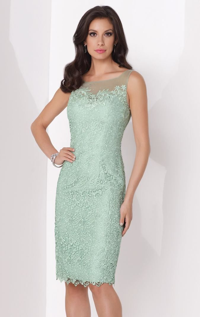 Exude grace and elegance in Social Occasions by Mon Cheri 115868. This amazing dress features illusion neckline over sweetheart bodice with scattered hand-beading.  The scalloped hemline highlights the knee-length skirt with center back slit. This dress is perfect for any formal occasion.