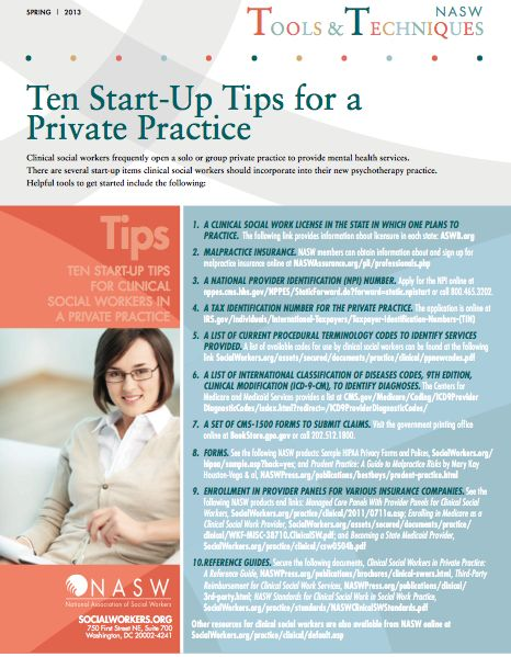 """Ten Start-Up Tips for A Private Practice < essential """"must have"""" items for clinical social workers opening a solo or group private practice"""
