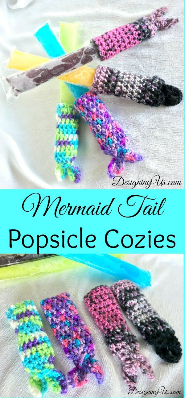 Hot day, cold popsicles, warm hands. Free crochet pattern for a Mermaid Tail Popsicle Cozy. Also available in my Etsy shop.