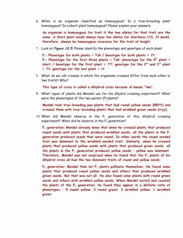 Mendelian Genetics Worksheet Answer Key Awesome Mendel S ...