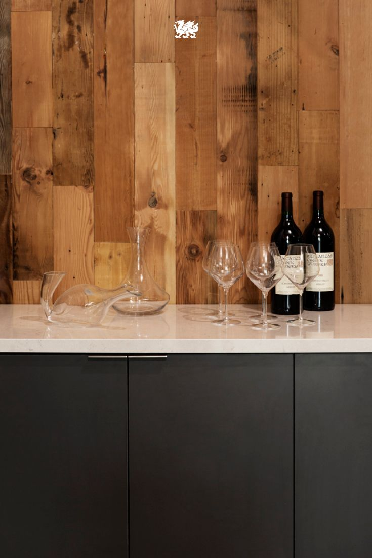 Refresh your traditional bar and wine area with sculptural decanters, a craftsman-inspired, reclaimed wood wall and our Waverton design. CC: @sunsetmag #MyCambria