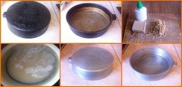 Предлагаю вашему вниманию хороший способ очистить противни или сковородки от нагара.