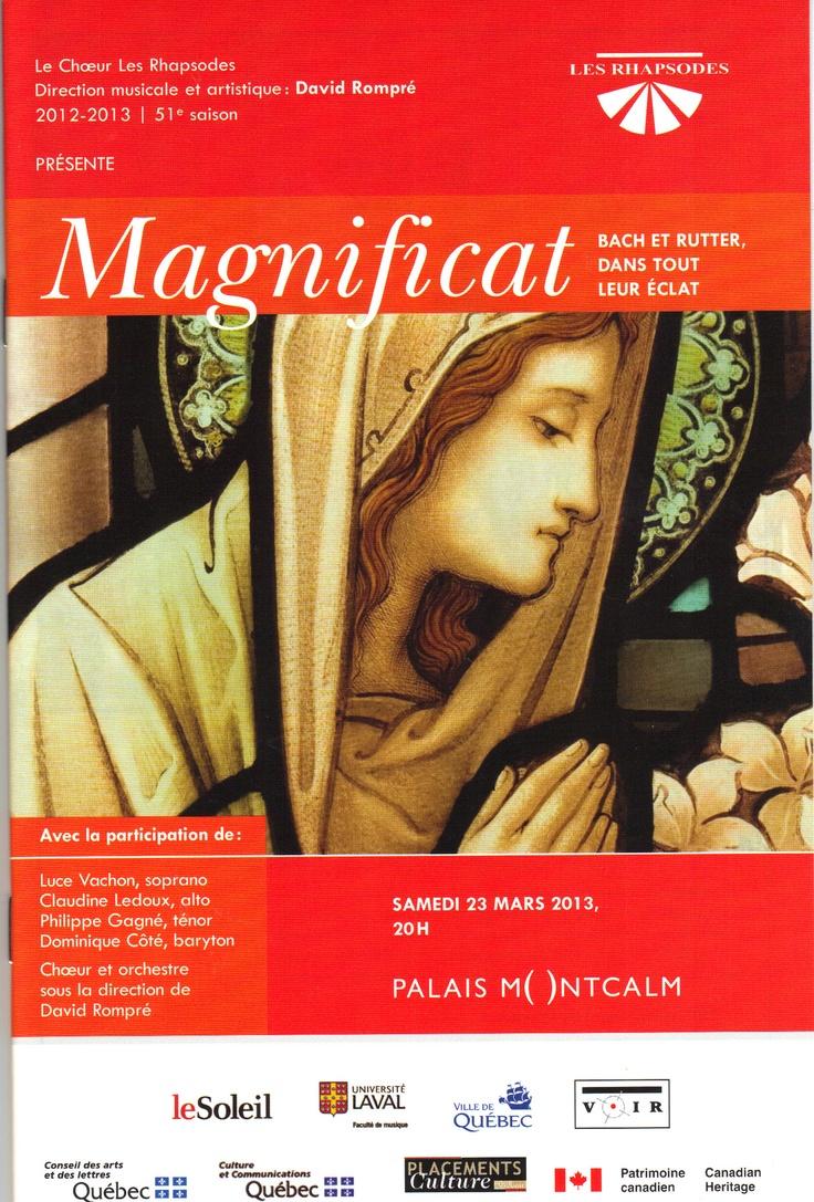 Mars 2013 Magnificat, Bach et Rutter, dans tout leur éclat Les Rhapsodes