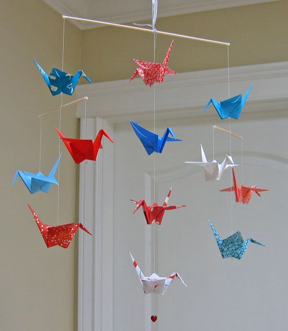 Origami crane mobile red white and blue modern baby for Origami decorations for your room