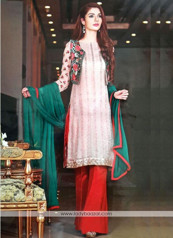 Multi Colour Georgette Embroidered Jacket Style Salwar suit #Salwarsuit…