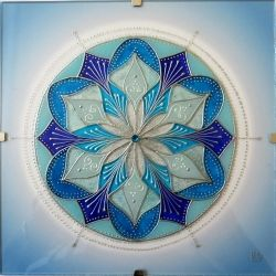 "Mandala Hand Glass drawing Mandala ""Na Vrcholcích Hor - Volnost"" mandala#hand#drawing#glass#glass#painting"