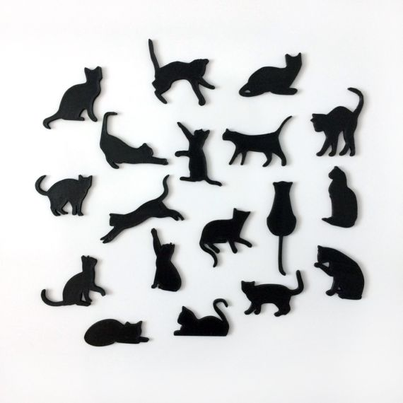 Magnetic Cats  Cool, original set of cat magnets. The set contains 18 cute cats. The magnet itself is embedded into the plastic, so it would not scratch or damage your photos or fridge!