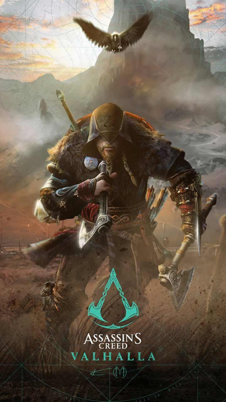 Assassin S Creed Valhalla Wallpaper Hd Phone Backgrounds Game Logo Art Poster On Iphone In 2020 Assassin S Creed Wallpaper Assassins Creed Art Assassins Creed Artwork