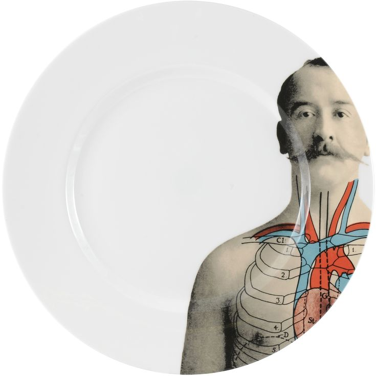 "Eating food was never this much fun. 10"" 'Anatomica' Dinner Plate. This cool range celebrates the beauty of the 'human machine' discovered in the 19th century and shows an appreciation for the beauty of who we are. Inspired by wonderful illustrations found in anatomical books during that time, this collection features formal etchings designed by talented artist Lisa Turner. Dishwasher safe, Fine Bone China. Find out more here…"
