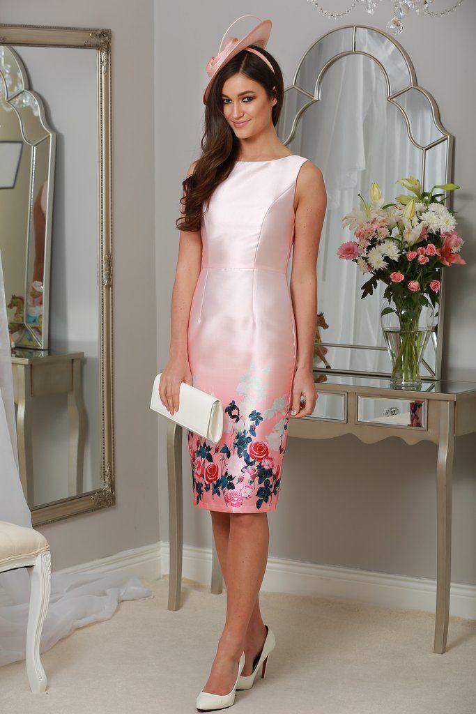 Bella Tie & Dye Floral Printed Bodycon Dress in Rose Pink