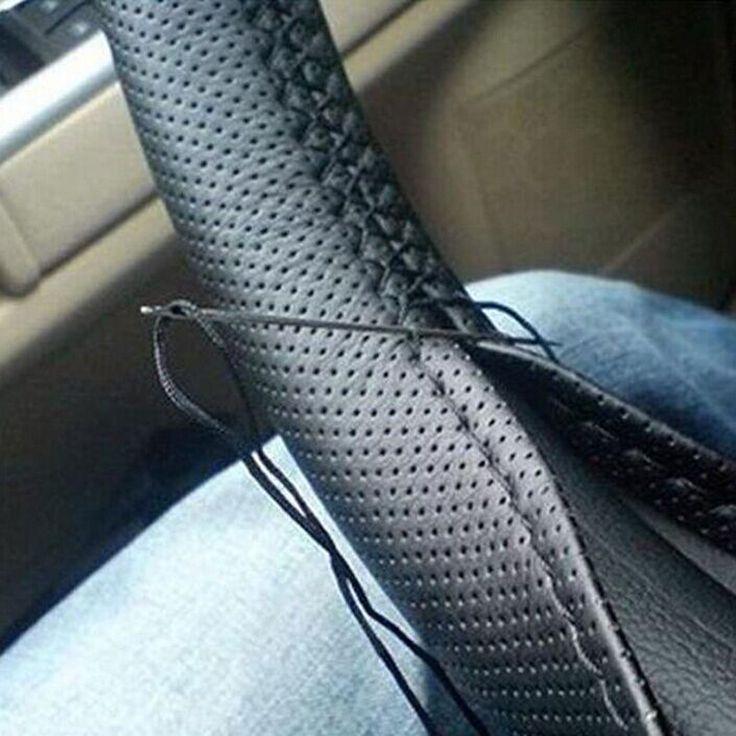1pcs <b>Black</b> DIY <b>Car</b> Steering Wheel Cover With Needles Thread ...