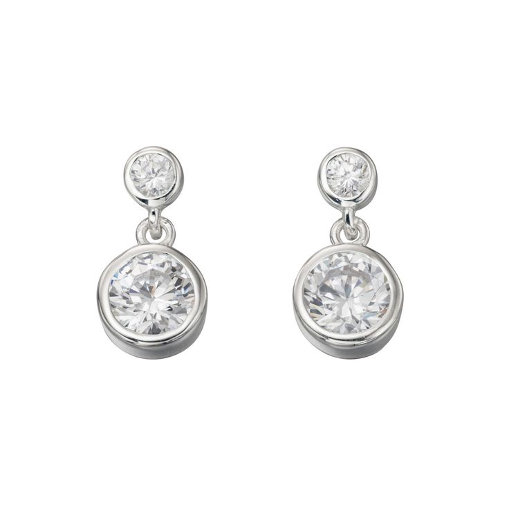 Sterling Silver Double Drop Rubover Cz Earrings - With a contemporary and free spirited feel, these stylish earrings from the must-have Beginnings collection are designed and created with quality at its core using 925 grade sterling silver: http://ow.ly/Xyd48