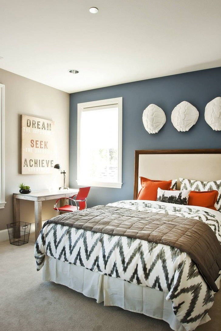 Royal Light Blue Bedroom Wall Paint And Wooden White