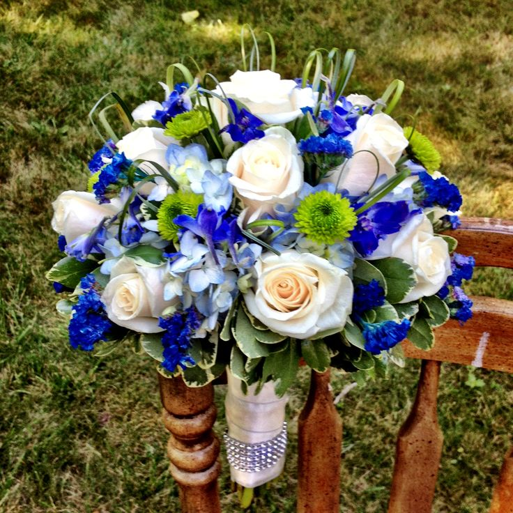 Bridal Bouquet for Royal Blue wedding by Blossoming Blessings, Wallingford, Ct