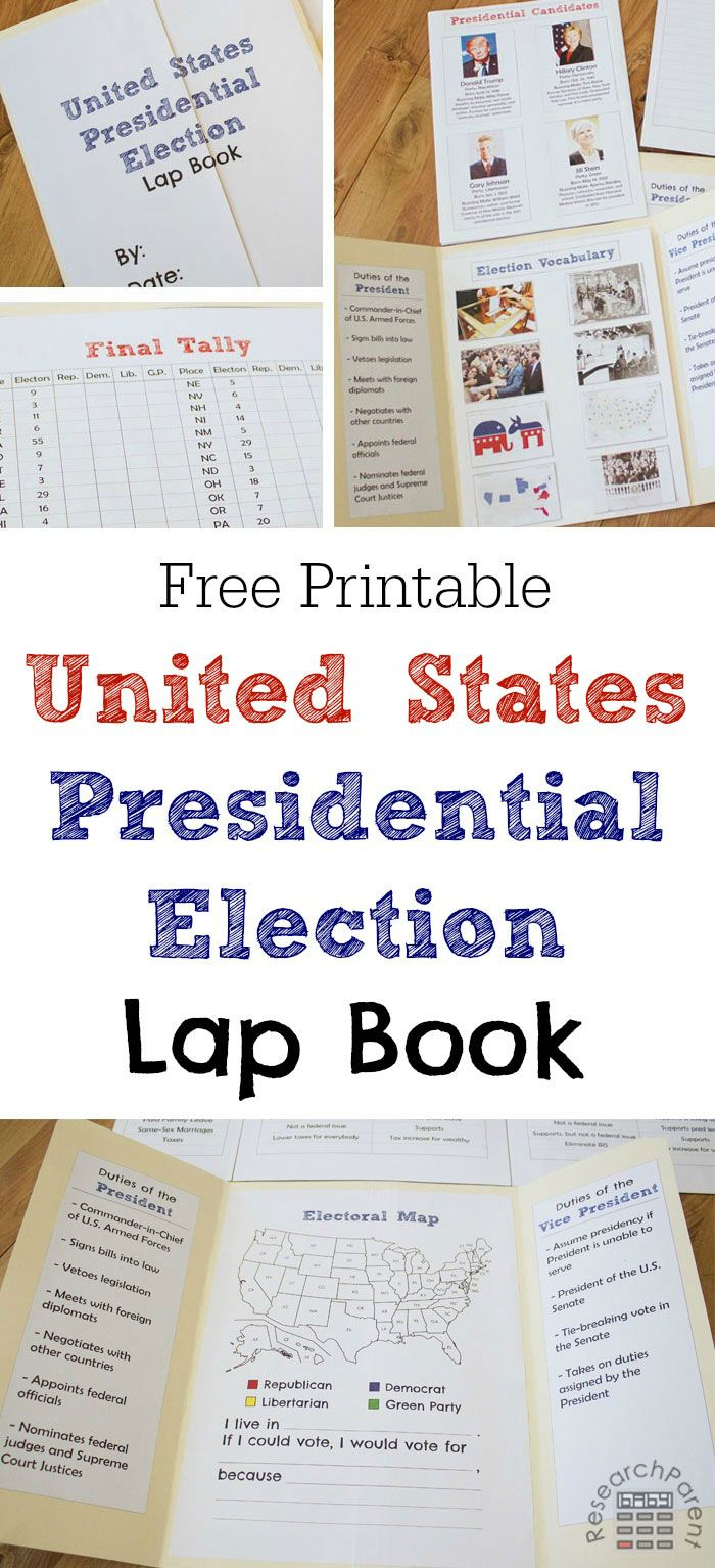 U.S. Presidential Election Lap Book - Free, printable lapbook template for learning about the United States presidential election process and candidates via @researchparent