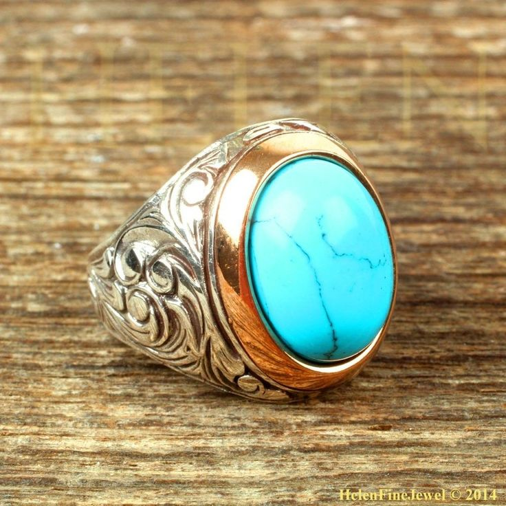 Magnificent Sultan Süleiman  Oval Shape Turquoise Stone Man Ring Sterling Silver #Handmade