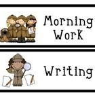 Daily schedule cards perfect for a detective/mystery themed classroom! This set includes 14 daily activity cards, 4 blank activity cards that can b...