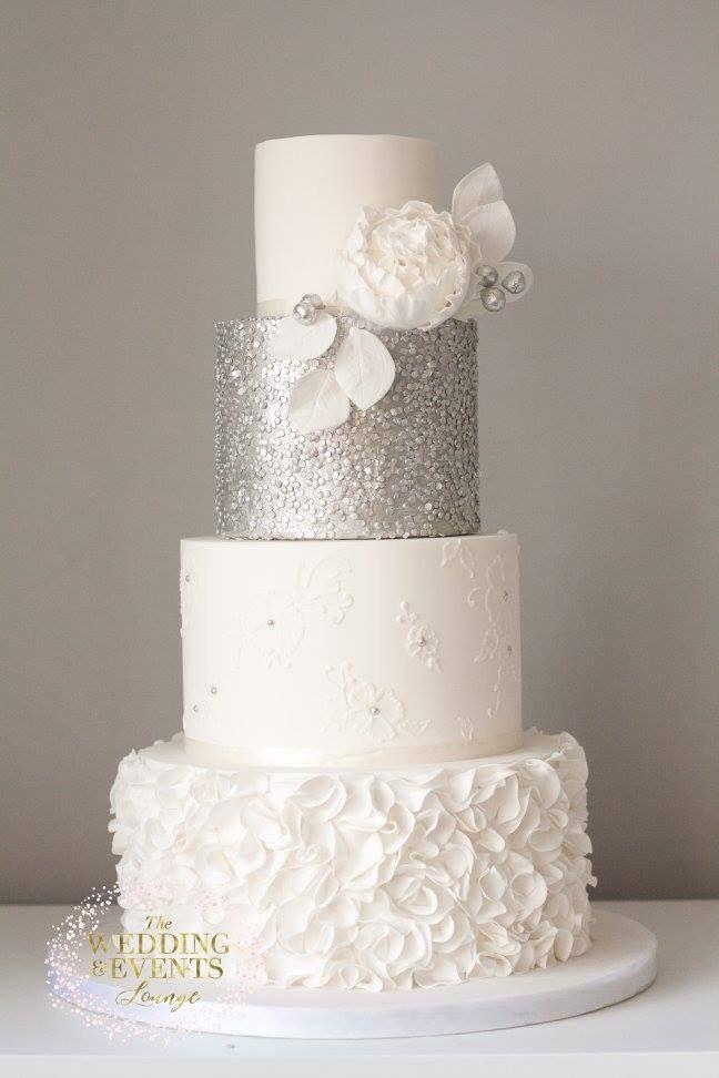 Silver Sequin Wedding Cake Lace Ruffles Peony Modern 4 Tiers