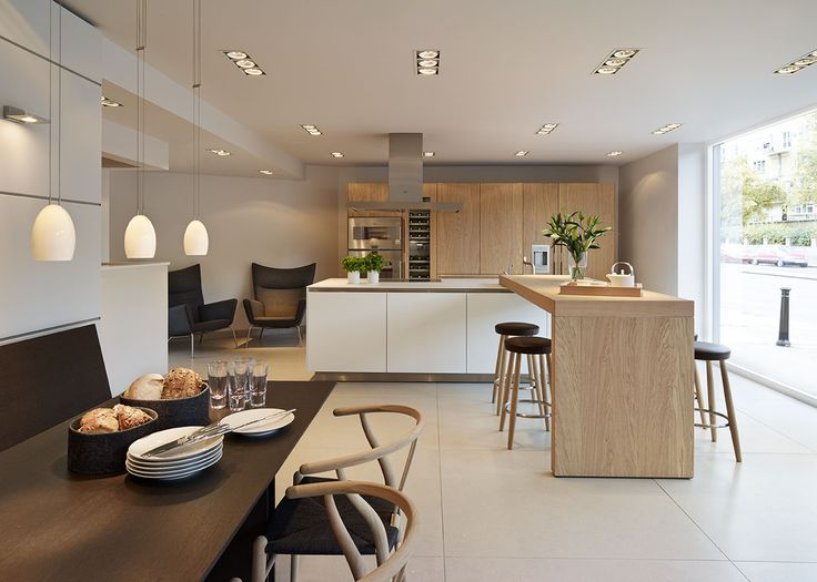 bulthaup b3 'Rough Sawn Oak' kitchen with Carl Hansen furniture and Gaggenau appliances in our Bath showroom.