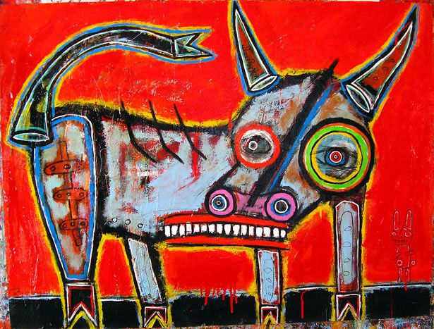 Work by artist Matt Sesow (USA). Image description: a brightly coloured, cartoon-like illustration of a cow-like creature. The animal has a long rectangle mouth with square teeth. One of its circular spiraling eyes is much larger than the other.