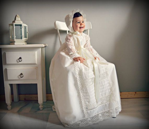Ready to Ship.Christening Gown. Baby outfit(boy or girl)for special day or celebration. Long gown and bonnet.Traditional spanish gown. Ivory