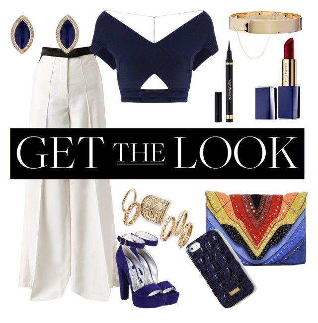 """#get #the #look #ysl #blue #white"" by maria-paula-moreno on Polyvore featuring Racil, Roland Mouret, Prada, Elena Ghisellini, Topshop, Eddie Borgo, Estée Lauder, Brahmin and Yves Saint Laurent"