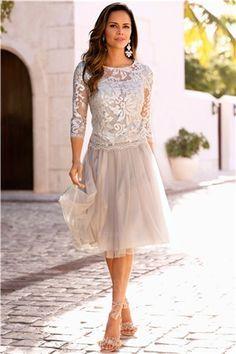 A-Linie/Princess-Linie Juwel-Ausschnitt Knielang Tülle Spitze Brautmutterkleider