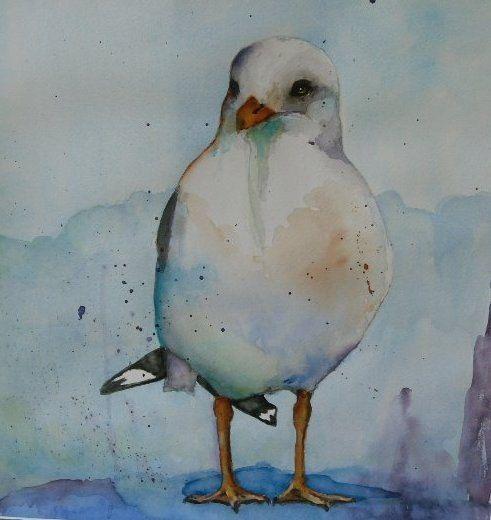 Loose seagull original watercolor painting by bMoorearts