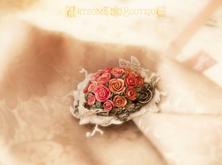 Shabby Chic Rose Brooch, Vintage Roses Brooch, Handmade Polymer Clay Brooch, Trendy Textile Brooch, Valentine's day gift by ArtsomeBoutique on Etsy