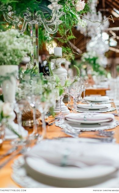 Stunning tabel decor at this celebrity wedding! Wedding Venue: Oakfield Farm   Photographer: Christine Meintjes Photography   Make-up: Beauty & the brush   Make-up: Make-up by Dyllon   Hair: Gary Rom Hair   Wedding Dress: Bondesio Couture   Organisers: Zavion Kotze Events  