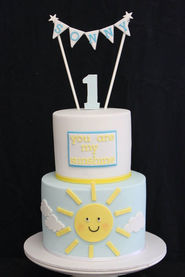 Bottom layer...how the top of the cake would look with sun (no face on sun) and clouds