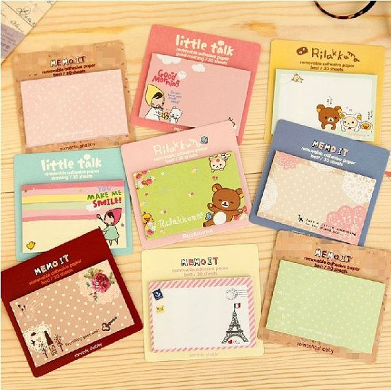 New Korean kawaii sticky note, sticky memo, notepad for DIY scrapbook, writing, office deco, wall deco, home fun, $0.99