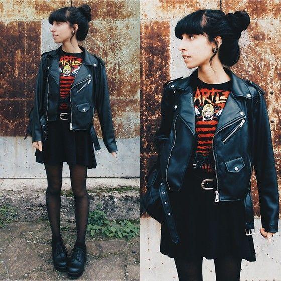 Get this look: http://lb.nu/look/8443913  More looks by Vanessa Rossi: http://lb.nu/vanex  Items in this look:  Zara Leather Jacket, Emp Tshirt, Bershka Skirt, Dresslink Shoes   #grunge #punk #vintage