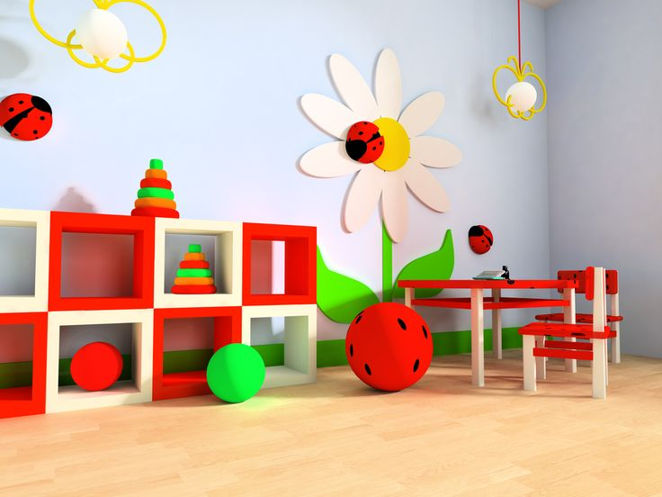 Charming Kids Play Room Ideas : Primary Colored Childs Playroom Clouds And  Flowers Blonde Wood Flooring