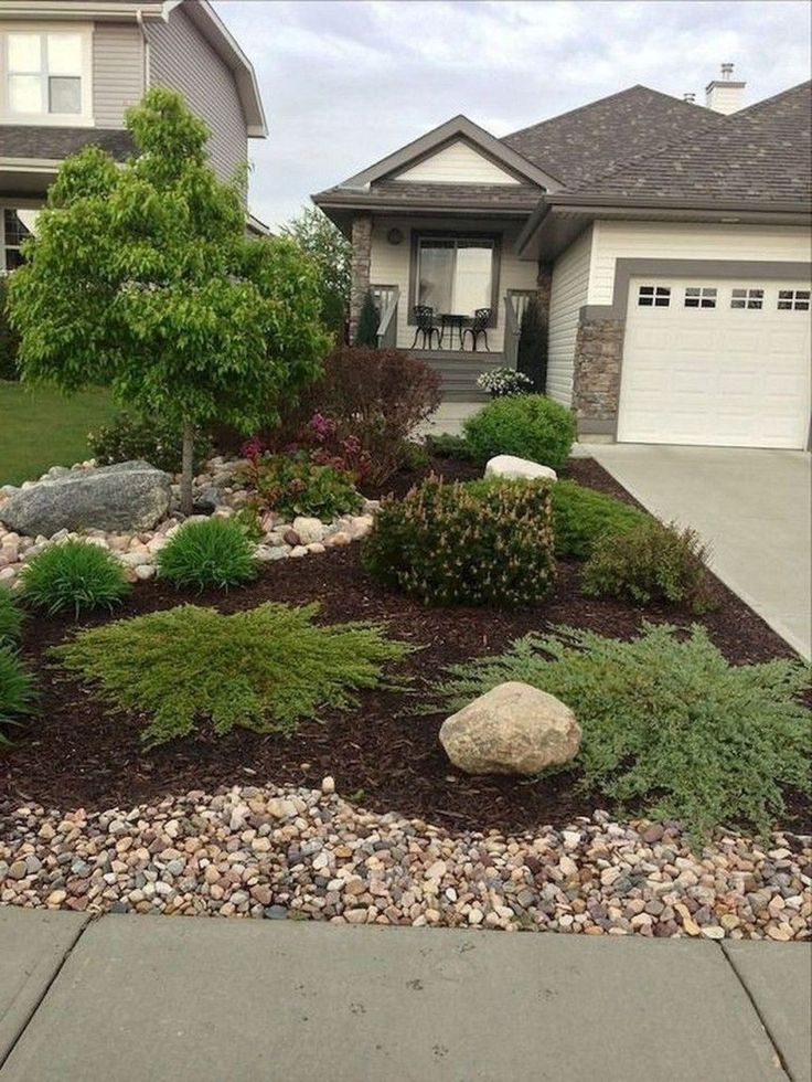 excellent back yard rock garden | Inexpensive Front Yard Landscaping Ideas24 | garden/lawn ...