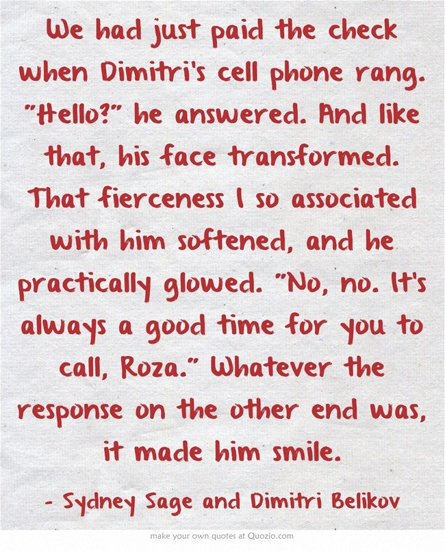 Bloodlines Quotes | Dimitri Belikov and Sydney Sage