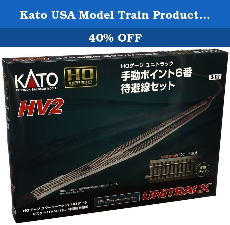 Kato USA Model Train Products HV2 UNITRACK Passing Siding Track Set with #6 Manual Turnout. Manufacturer: KATO Art.-No. 7003112 EAN: 4949727524511 Gauge H0 1:87 Power system DC HV2 Passing siding track set with #6 manual turnout This track assortment consists of the necessary track sections to form a complete passing siding (approximately 5 2/3 feet long) made using #6 manual turnouts.