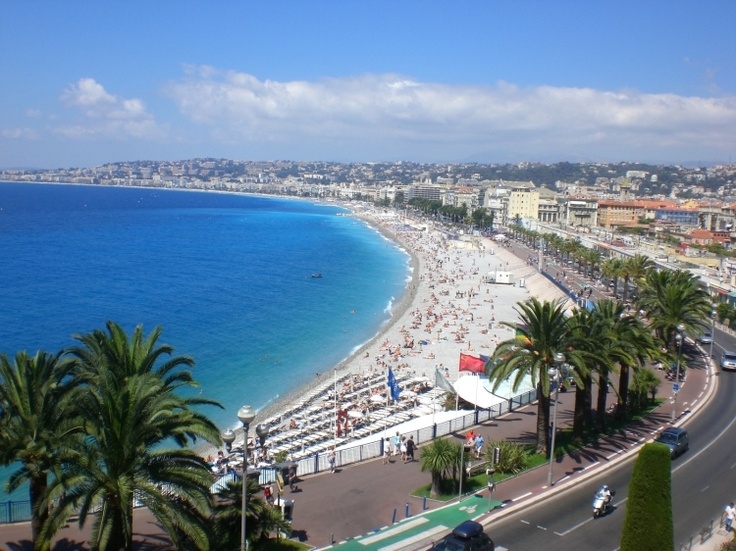 """NICE - """"La baie des anges""""  a Nice, France boardwalk and bay view from the Chateaux  http://stampingwithbibiana.blogspot.com/"""