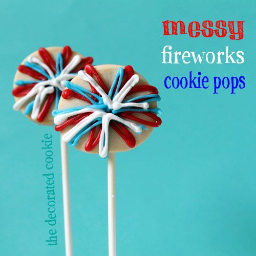 easy fireworks decorated cookie pops for the 4th of July