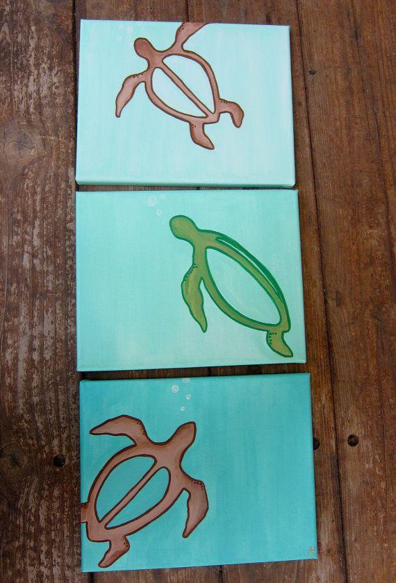 Hawaiian Sea Turtles Aqua Ombre 3/8X10 CanvasWall by IslandPaint, $50.00