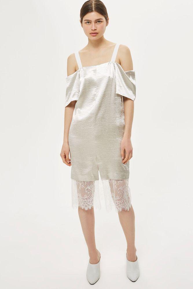 Cold Shoulder Satin Look Midi Dress. UK 14 / US 10. UK 16 / US 12. UK 10 / US 6. UK 12 / US 8. Lace Hem. 100% Polyester. UK 6/ US 2. | eBay!