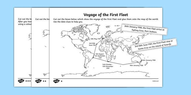 The First Fleet Mapping the Voyage Differentiated Activity Sheet - australia, The First Fleet, voyage, worksheet, timeline, activity, cut and paste, order, significant, history