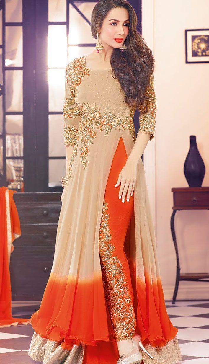 Beautiful Latest Peach Georgette Anarkali Suit, Dress