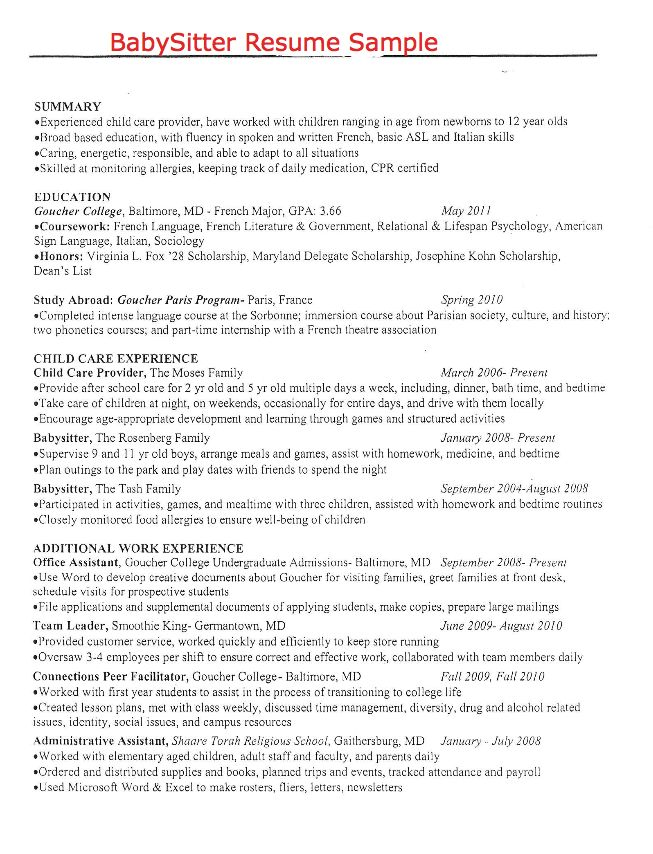 Babysitter On Resume Resume Sample For Civil Engineering  Httpexampleresumecv .