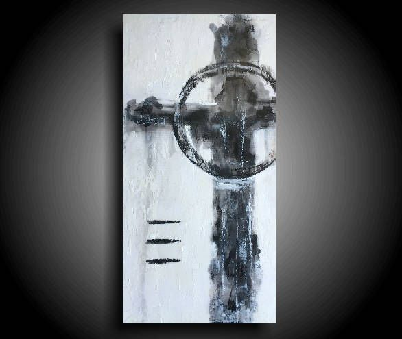 Large Abstract Cross Painting 20 X 10 Black White Religious Texture Encaustic Original Canvas Wall Art