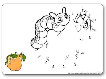 http://dessinemoiunehistoire.net/Relier les points de 1 à 20 : la chenille et la poire