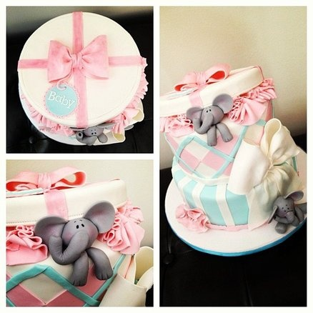 Baby Elephant Baby Shower Cake Cake By TheFrostedCakeBoutiq