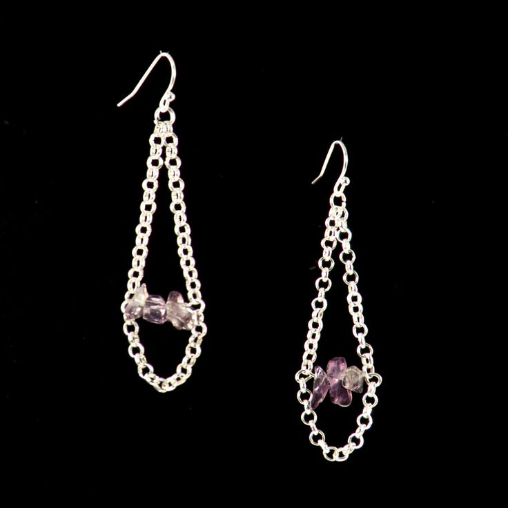 AMETHYST DROP EARRINGS Vintage Amethyst beads linked with sterling silver rolo chain. CA $34.95 http://pursuademe.com/shop/?id=200