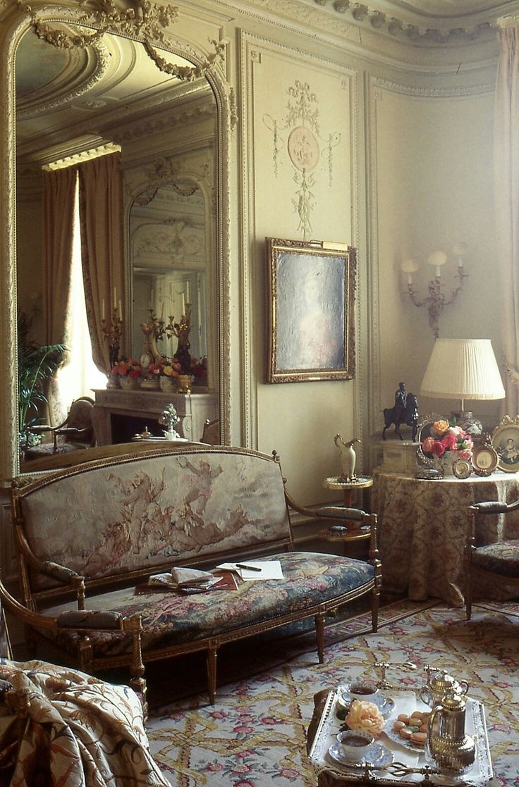 French salon with tapestry covered settee